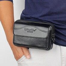 High Quality Natural Skin Mobile Phone Case Belt Fanny Bags Purse Belt Clutch Money Wallet Men Genuine Leather Wallet Waist Pack