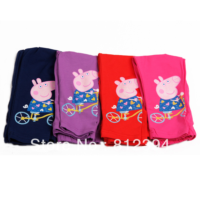 FREE SHIPPINGA Peppa pig female child pink pig assuming pig ankle length legging trousers elastic pants children's clothing