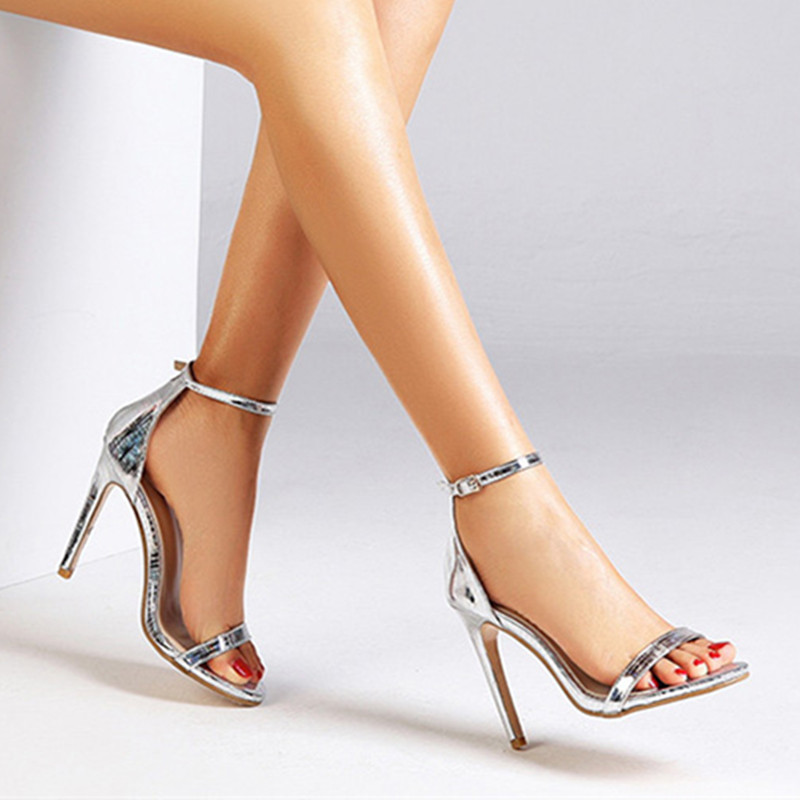 2019 New Women's Pumps Sexy High Heels Ladies Shoes Open Toed Thin Heels Sliver Female Shoes Wedding Party Shoes Women Sandals