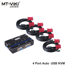 MT-VIKI USB2.0 Auto VGA KVM Switch 4 Port Converter Hotkey Switch PC with Cable Support Bluetooth K&M Set Drive All OS MT-462KL