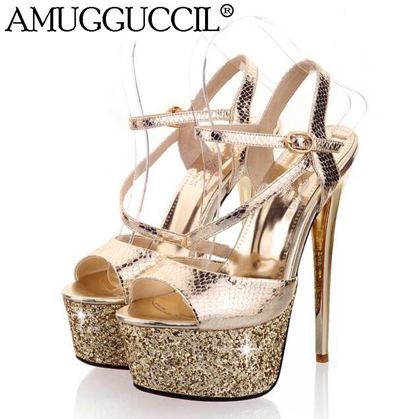 2018 New Gold Silver Buckle Glitter Fashion Sexy High Heels Platform Party Wedding Summer Girl Female Women Shoes Sandals L184 2017 gladiator sandals summer platform shoes woman gold silver flats buckle women shoes fashion creepers xwz6816