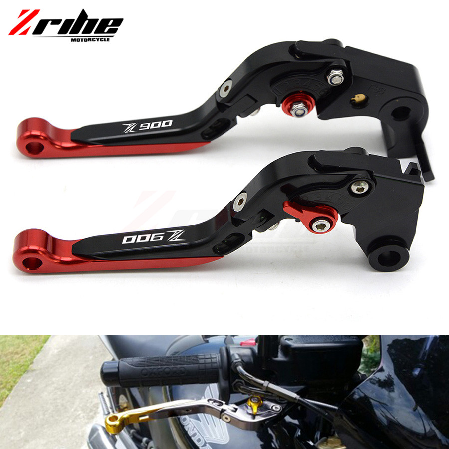 CNC Adjustable Dual Color Long Clutch Brake Lever Set Motorcycle Brakes Levers For Kawasaki Z900 2017 with LOGO Z900 cnc adjustable clutch brake levers set short long 2 style 10 colors fit for kymco downtown 125 200 300 350