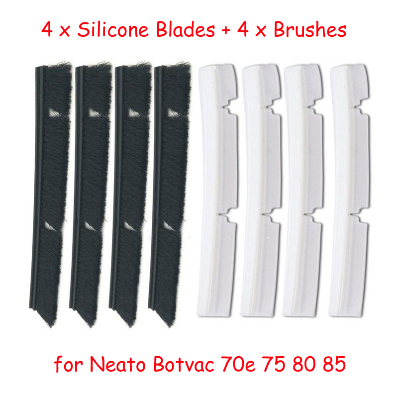 4*Silicone Blades+4*Brushes Replacement for Neato Botvac 70e 75 80 85 Vacuum Cleaner Parts accessories 4x silicone blades 4x brush 1x beater bearing replacement for neato botvac 70e 75 80 85 automatic vacuum cleaner robots
