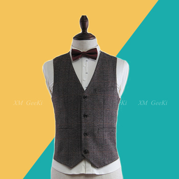 2019 British Style Brown Wool Tweed Vest Men's Suit Vest Slim fit Groom Vest Vintage Wedding Waistcoat Mens Dress Vest Plus Size