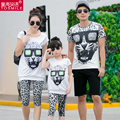 2016 Family Fashion Summer  Leopard  Print  Short-sleeve  Set Matching Family Clothing Outfits For Mother Daughter And Father