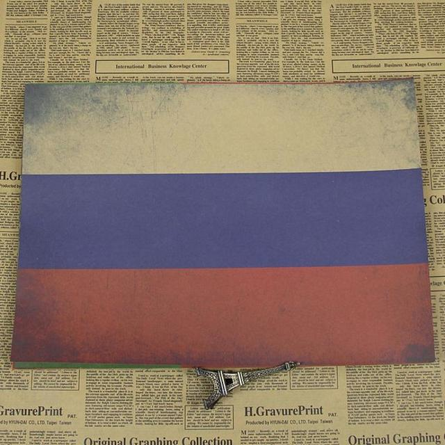 Vintage Old Kraft Paper Poster About RUSSIA National Flag Wall Sticker Nostalgic  Home Decor Bar Pub