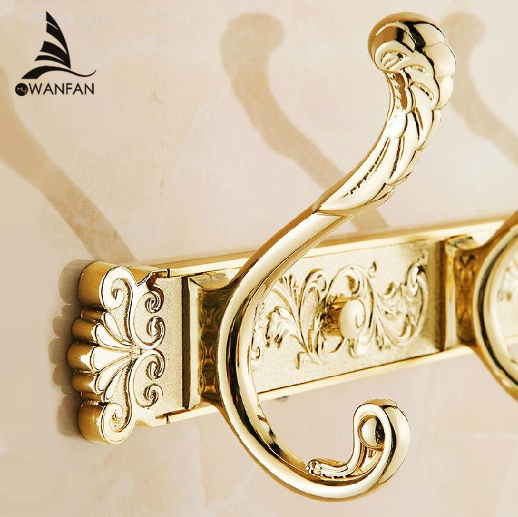 Robe Hooks Gold Color Wall Mounted Clothes Hat Hook Row Vintage Elegant Robe Hook Bathroom Accessories Bath Hardware Set HA-26K vintage color block skidproof flannel bath rug