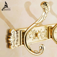 Free Shipping Carving Gold Plate Wall Mount Clothes And Hat Hook 4 8 Row Hook Bathroom