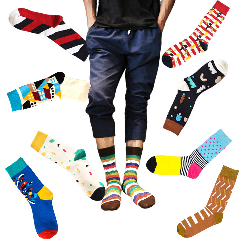 New LNRRABC Colored Striped Dot Men Socks Cotton Print Art Jacquard Long Hit Color Casual Socks