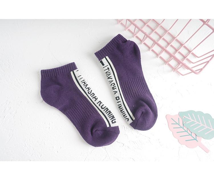 Лето-осень, женские хлопковые короткие носки с буквенным принтом, жаккардовые, длина по щиколотку, женские повседневные носки, Deodor, свежие, эластичные, дышащие - Цвет: Фиолетовый