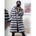 New Womens Natural Genuine Stripe Rex Rabbit Fur Outwear Coat  Real Rex Rabbit Fur Winter Overcoat