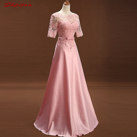Pink Lace Mother of the Bride Dresses for Weddings A Line Evening Gowns Formal Godmother Groom Long Dresses vestido de madrinha