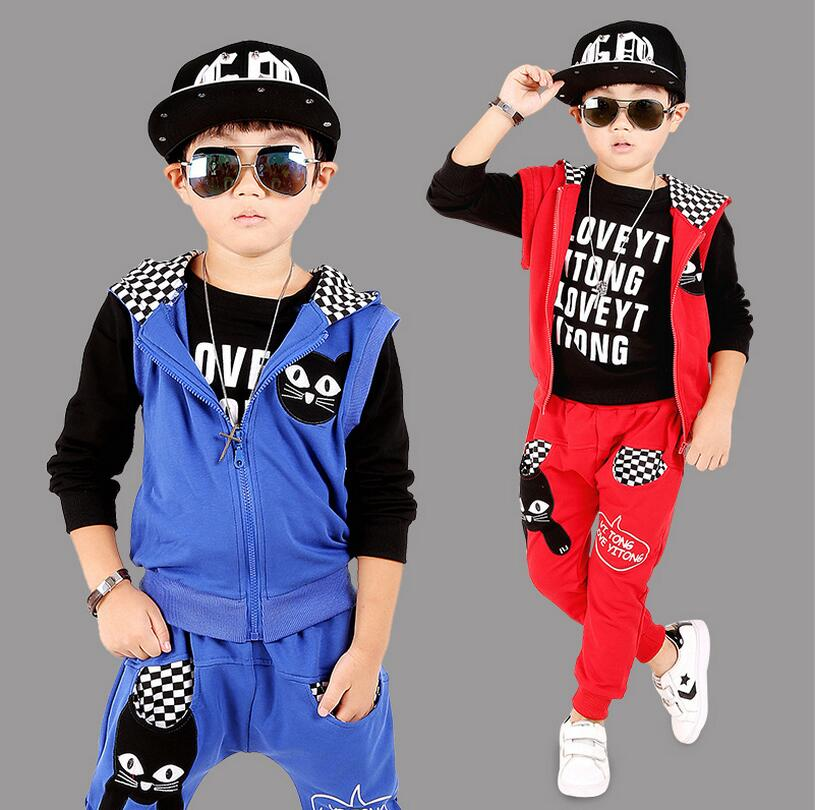 ФОТО Early Autumn Korean Kids Clothes Cartoon Three-piece Costume For Boy Cotton Hooded Vest Clothing Set Zipper Children's Tracksuit