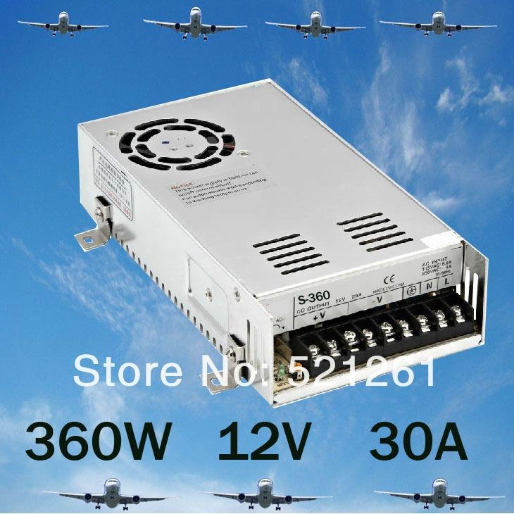 DIANQI 360W 30A Switching Power Supply For LED Strip light,220V/110V AC input,12V output  power suply  ac to dc S-360-12 best quality 12v 15a 180w switching power supply driver for led strip ac 100 240v input to dc 12v