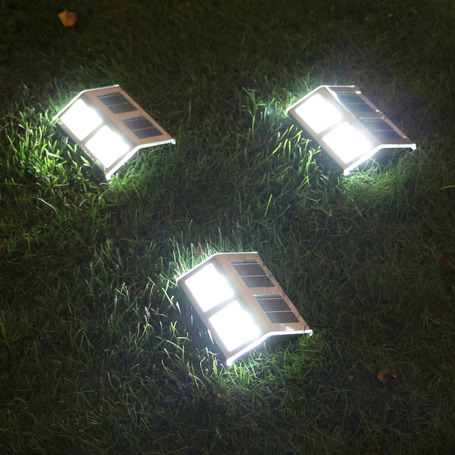 U-EASY 4 PCs LED Solar Stair Wall Light Solar Powered Outdoor Lamp for Garden Pathway Garden Decoration Waterproof Step Lamps