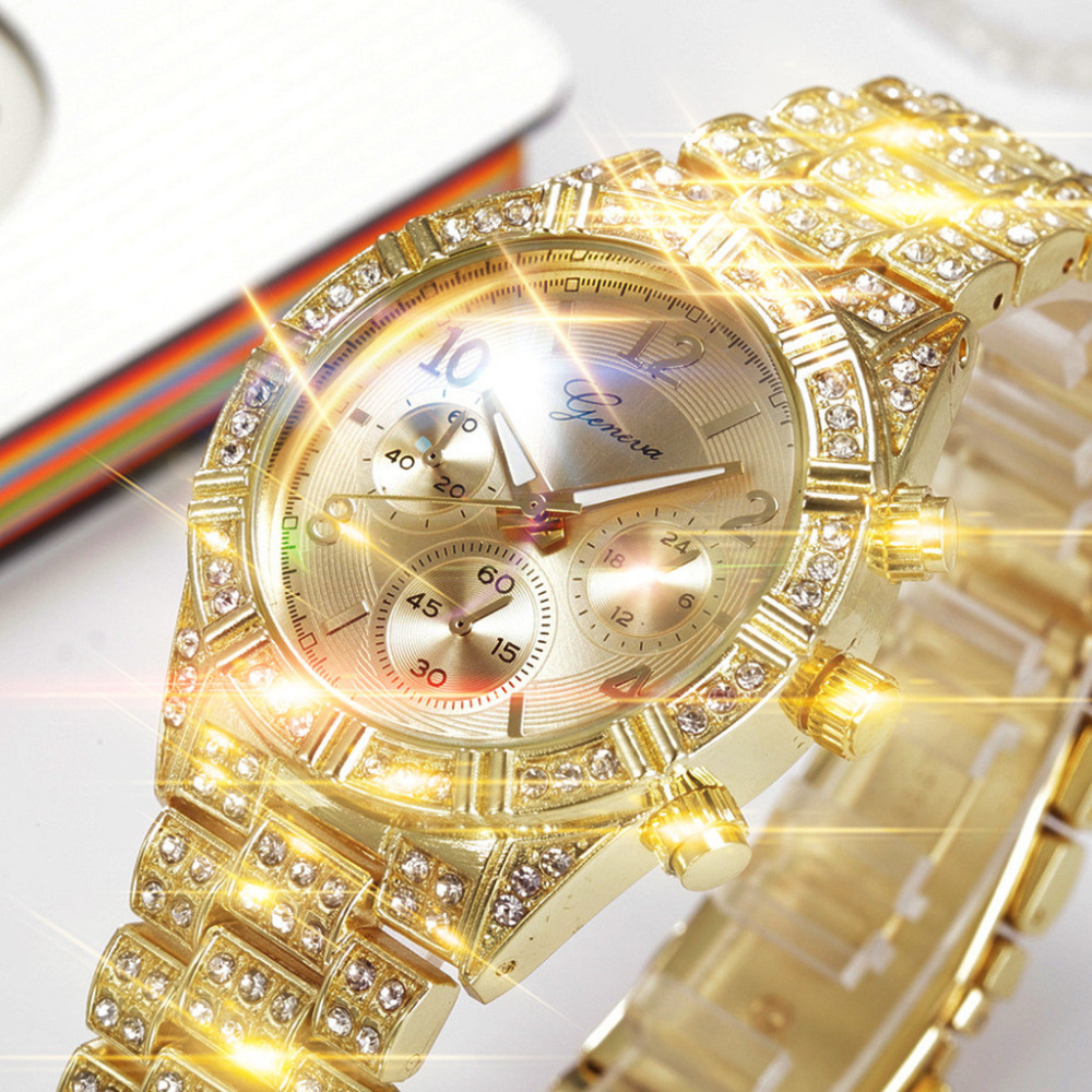 Women Watches Luxury Brand Geneva Ladies Quartz Rhinestone wristwatches Clock Zegarek Damski Female Dress Relogio Feminino FW5