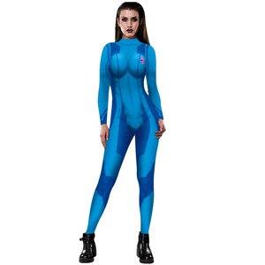 Image 4 - MEGATROID ve SAMUS siyah Samus Aran Metroid sıfır takım elbise Cosplay kostüm Lycra Spandex 3D baskı oyunu Zentai Catsuit Samus Bodysuit