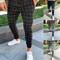 Мужские повседневные спортивные брюки s, облегающие спортивные штаны для бега, Стрейчевые облегающие брюки в клетку