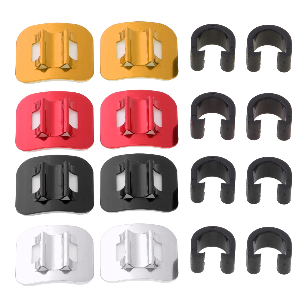 10 Pack Bike Cable Guide Self-Adhesive Tie Done Base with C-Clips Black