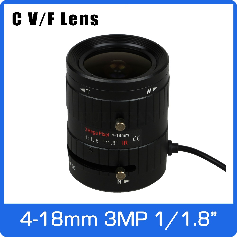 3Megapixel DC AUTO IRIS Varifocal CCTV Lens 1/1.8 inch 4-18mm C Mount For SONY IMX185 1080P Box Camera IP Camera Free Shipping 8megapixel varifocal cctv 4k lens 1 1 8 inch 3 6 10mm cs mount dc iris for sony imx178 imx274 box camera 4k camera free shipping
