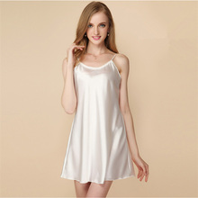 Ladies Sexy Silk Satin Night Dress Thin Nighties Nightgown Plus Size Spaghetti Strap Lace Sleepwear Sleepshirts For Women