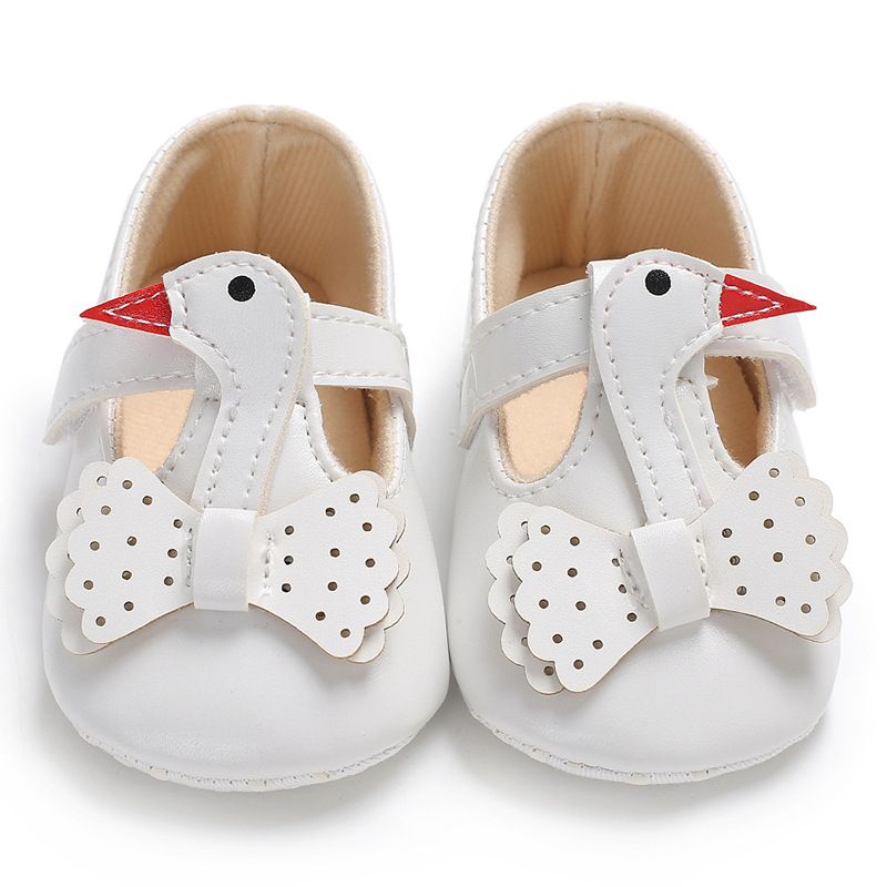 Raise Young PU Leather Cartoon Duck Baby Girl Shoes Non-slip Butterfly-knot Newborn Girl First Walkers Toddler Footwear