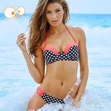 Pan caliente Sexy Dot Patchwork Halter Bandeau Traje de Baño Femenino 2017 Ropa de Playa Bikini Brasileño Set Triángulo Bañador de Las Mujeres traje de Baño