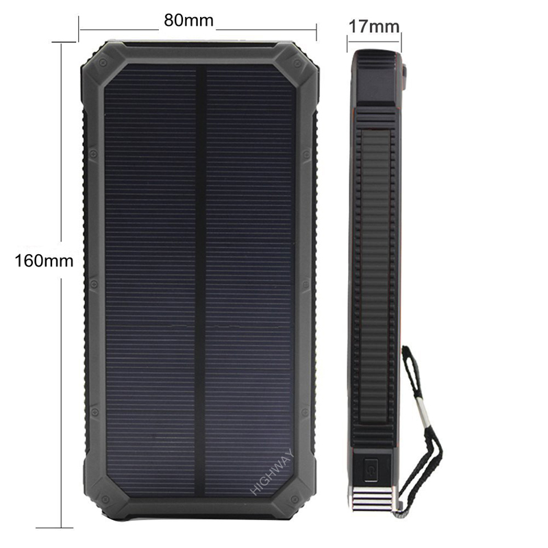 PowerGreen Solar Powerbank Karabijnhaak Ontwerp Dual Port USB-oplader - Mobiele telefoon onderdelen en accessoires - Foto 2