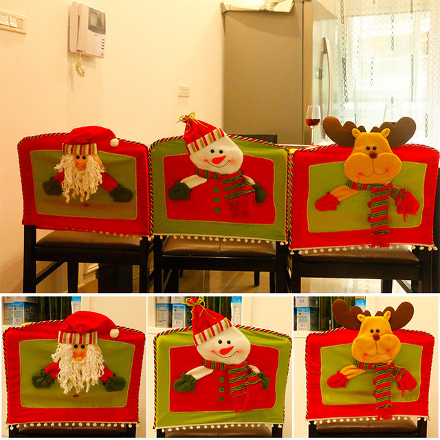 2017 New Santa Claus Snowman Set Christmas Decoration Family Chair Cover Home Decor Hotel Shopping Malls