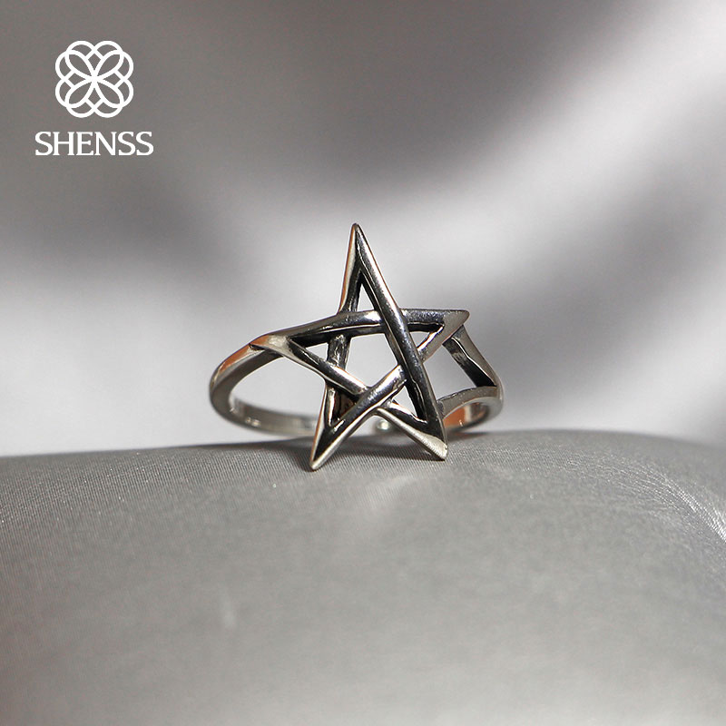 Elegant Quality 925 Rings Vintage Rock Style Thai Silver Star Ring Sterling Unisex Jewelry Adjustable