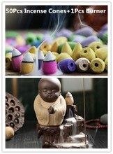 50Pc Incense Cones + Burner Creative Home Decor The Little Monk Small Buddha