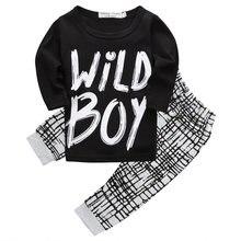 Bebé recién nacido caliente embroma Niños Wild Boy letra larga Tops + Plaid  Pantalones trajes Sets ropa del verano del bebé 0-2y 2e8982bca252