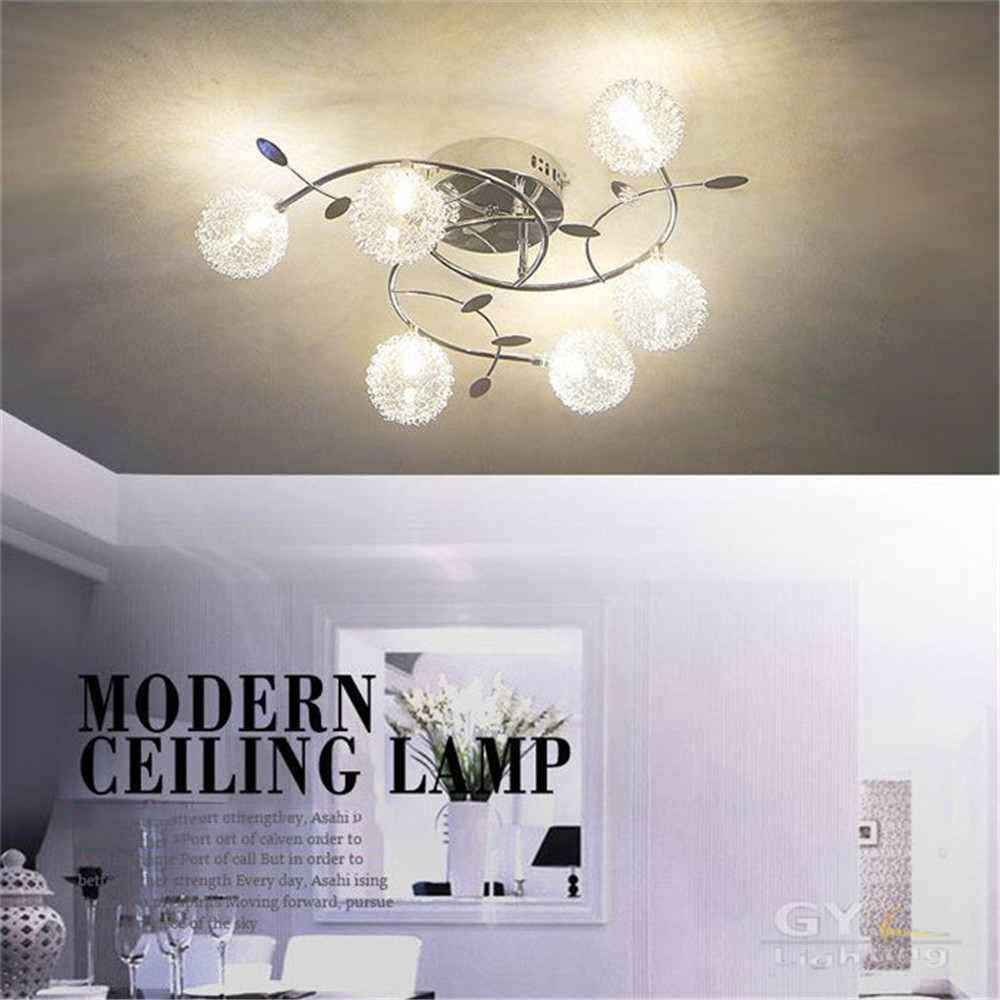 Modern Aluminum wire LED font b Ceiling b font light lustres glass or crystal abajur lampshade
