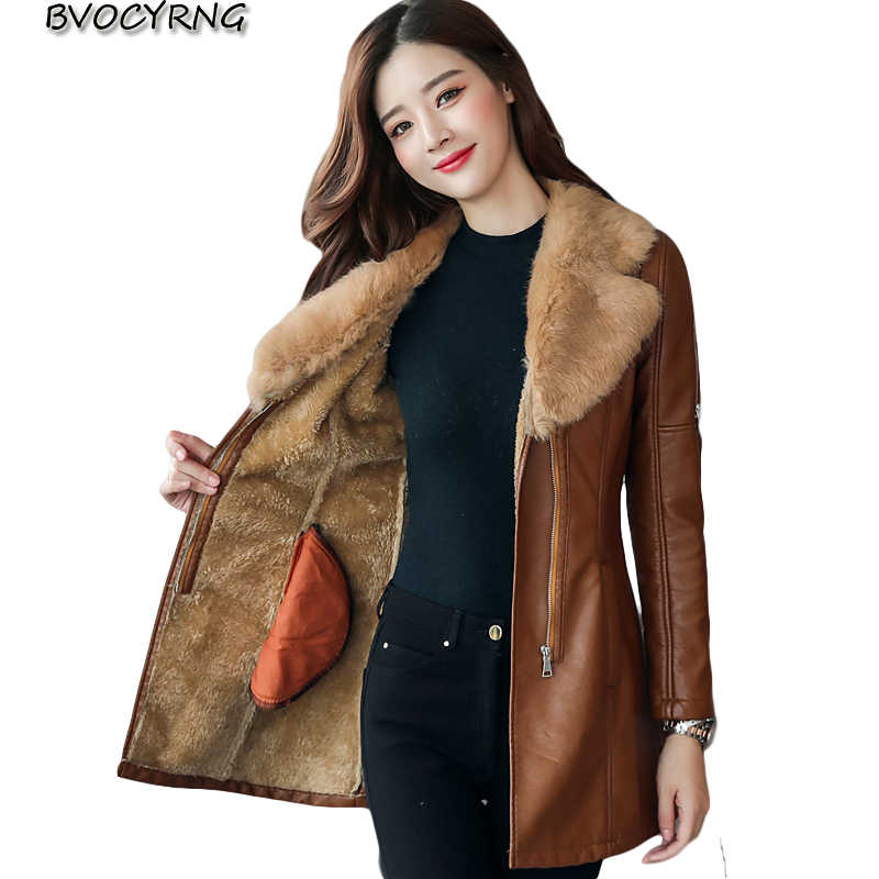 014fc35f8f4 Medium Syle Fur collar Leather Coat thick 2017 New Winter Warm Jacket Women  PU Leather Coat