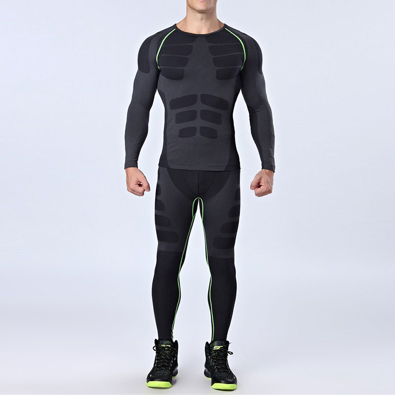 Image 3 - Quick Dry Mens Running Sets 2 pieces/sets Compression Sports Suits Men Basketball Tights Clothes Gym Fitness Jogging Sportswear-in Running Sets from Sports & Entertainment on AliExpress