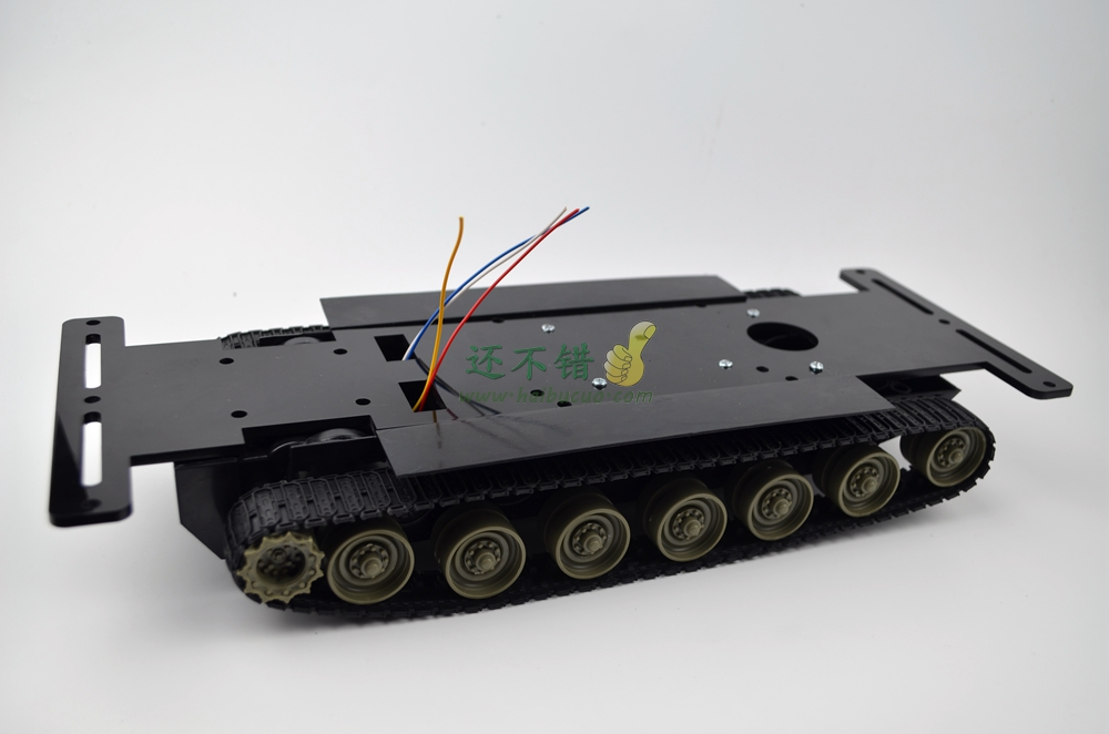 Tracked tank robot intelligent vehicle chassis remote control car kit with speed reduction box 2 wheel drive robot chassis kit 1 deck