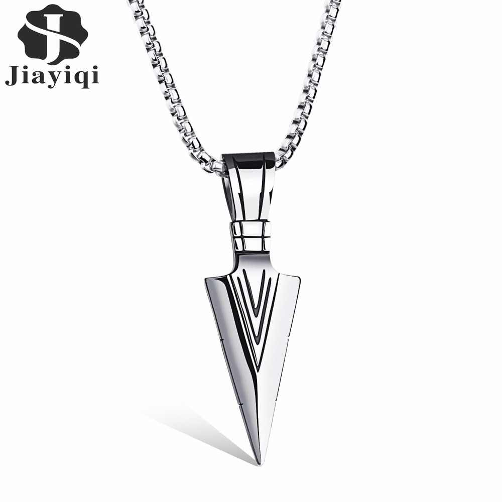 Jiayiqi 2017 New Arrow Stainless Steel Necklaces & Pendants Fashion Cool Male Necklace Punk Jewelry Personalized Accessories
