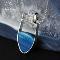 Lotus Fun Real 925 Sterling Silver Natural Agate Gemstones Fine Jewelry Lovely Penguin Necklace with Pendant for Women Collier