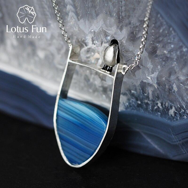 Lotus Fun réel 925 argent Sterling Agate naturelle pierres précieuses bijoux fins joli Collier pingouin avec pendentif pour les femmes Collier