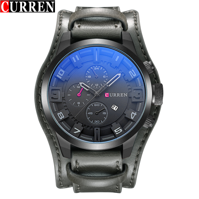 CURREN Men's Sport Brand Quartz Watch Men Wrist Watch Top Brand Luxury Quartz-Watch Leather Strap Military Male Clock Fashion 2018 fashion men women glow in the dark faux leather watch band strap quartz sport wrist watch