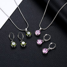 Fashion jewelry classic personality wild Top Round Crystal necklace bride suit wholesale Jewelry Sets Parure Bijoux Femme 2018(China)