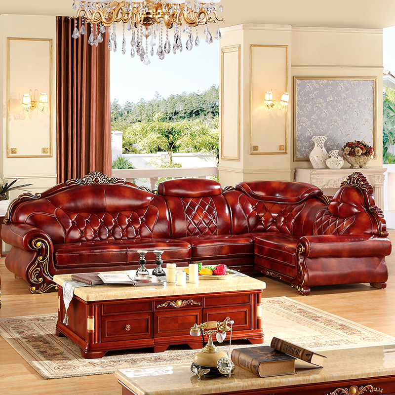 L Shape Leather 3.6 Meter  L Shape Antique Sofa For Big House Any Color Available