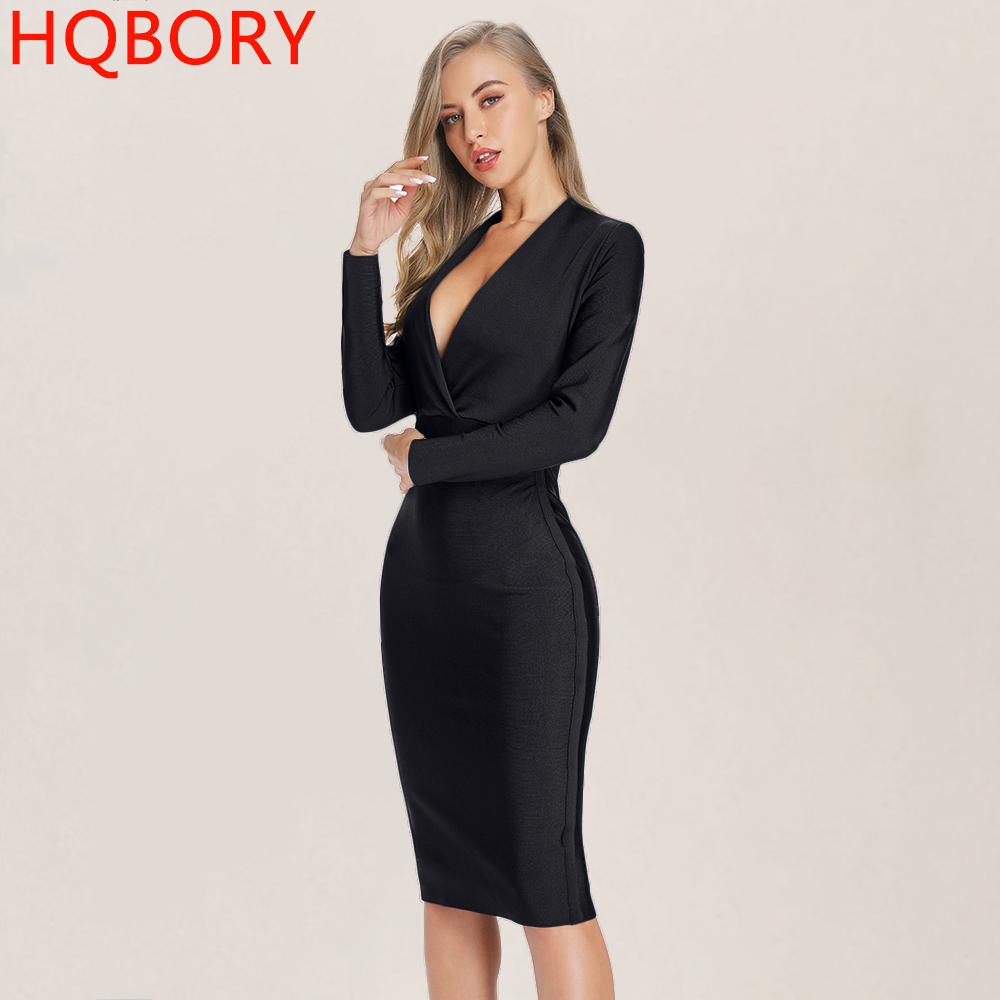 Black V Neck Long Sleeve Lady s Party Dresses 2019 Newest Spring Sexy Bodycon Elastic Midi