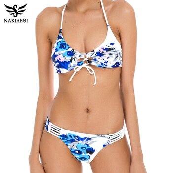 NAKIAEOI 2018 Sexy Bikinis Women Swimsuit Bandage Halter Beach Wear Bathing suits Push Up Swimwear Female Brazilian Bikini Set