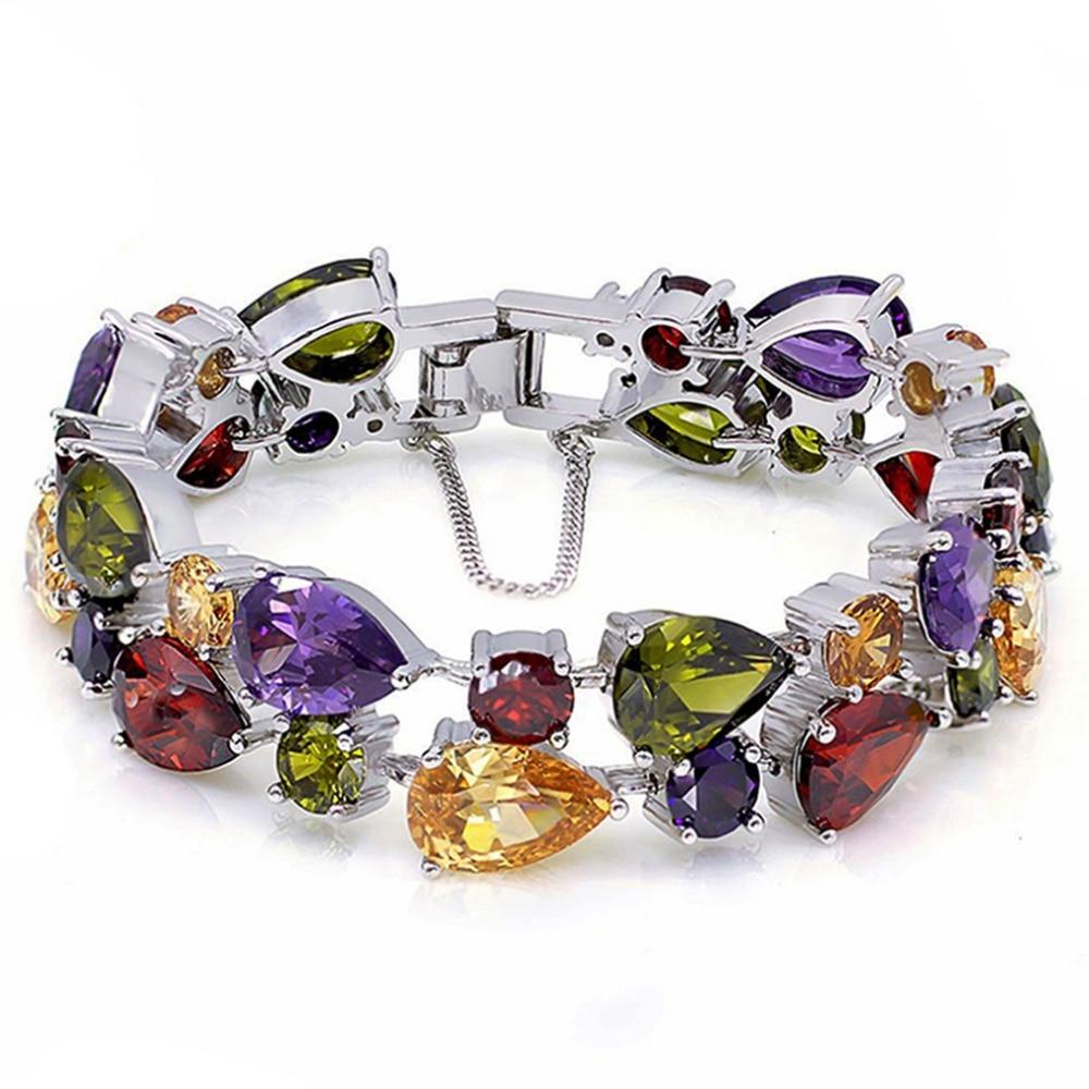 Hermosa Jewelry Multi Peridot Garnet 925 Sterling Silver Bracelets 8 21cm hermosa jewelry hot multi color round design 925 sterling silver fashion earring st81