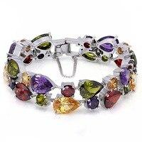 Hermosa Jewelry Multi Peridot Garnet 925 Sterling Silver Bracelets 8 21cm