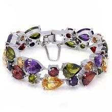 Hermosa ювелирные изделия многоперидный гранатовый браслет серебряного