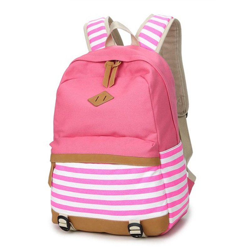 2016 preppy 학교 가방 십대 소녀를위한 배낭 귀여운 캔버스 줄무늬 인쇄 여성 배낭 가방 여성 escolar mochilas