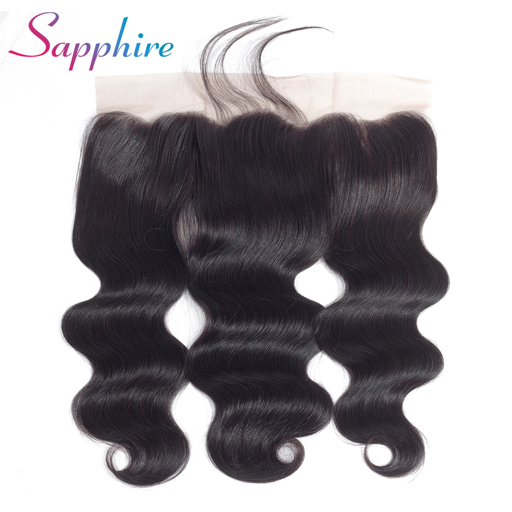 Sapphire Hair Malaysian Body Wave 13*4 Lace Frontal Non Remy 100% Human Hair Frontal Fre ...