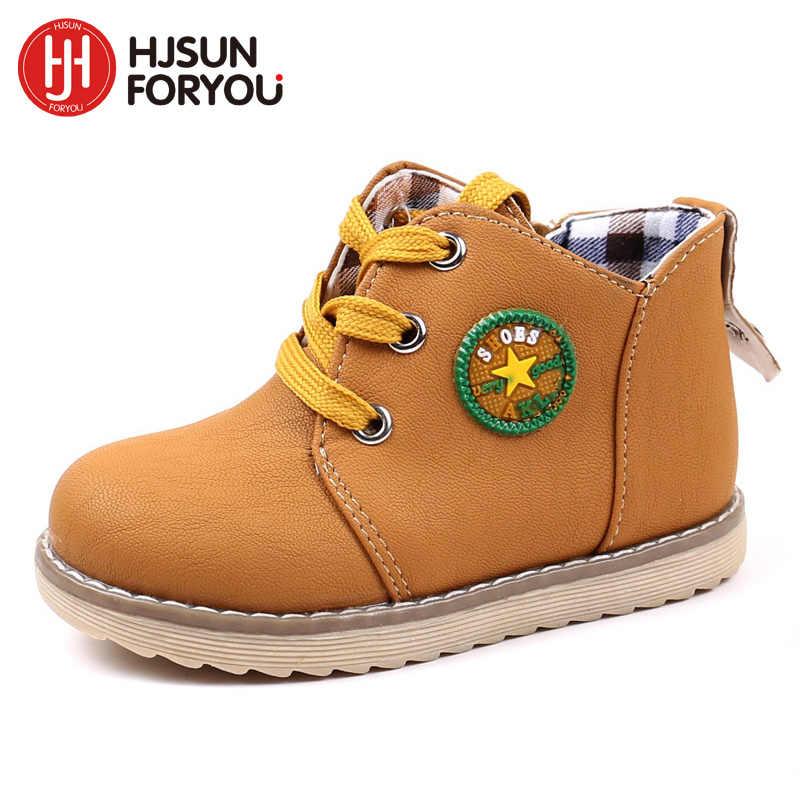 ขนาด 21-30 ฤดูใบไม้ผลิฤดูใบไม้ร่วงเด็กรองเท้ากันน้ำลื่นแฟชั่น snow boots รองเท้าเด็กชายและเด็กหญิงรองเท้ารองเท้าผ้าใบ fur casual รองเท้า